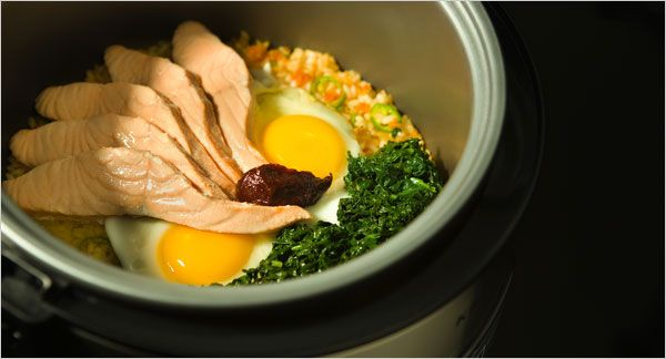 Rice Cooker Bibimbap With Salmon and Spinach | 21 Surprising Things You Can Make In A Rice Cooker