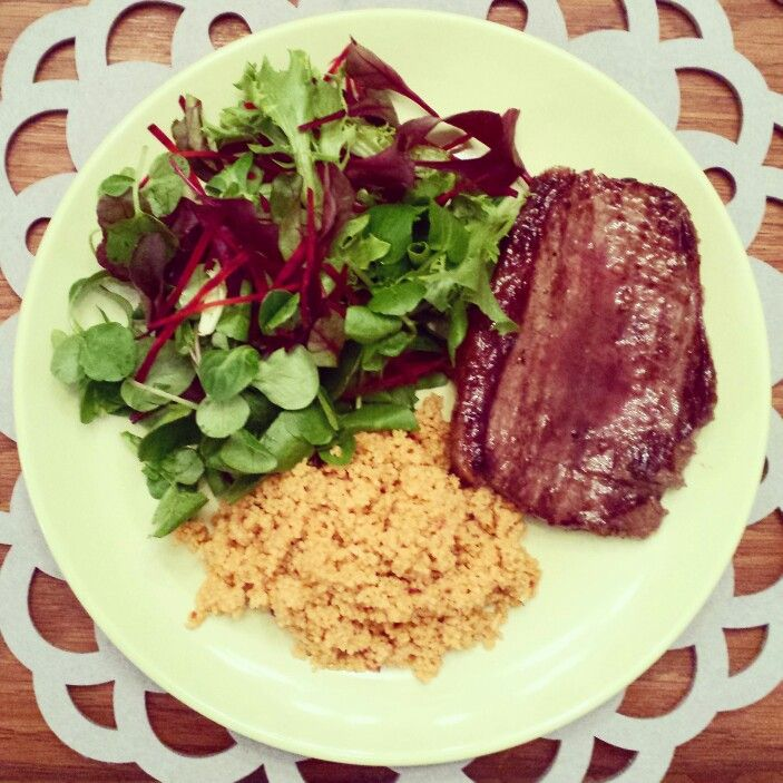 Steak, Salad and Cous Cous - great mix for a balanced diet