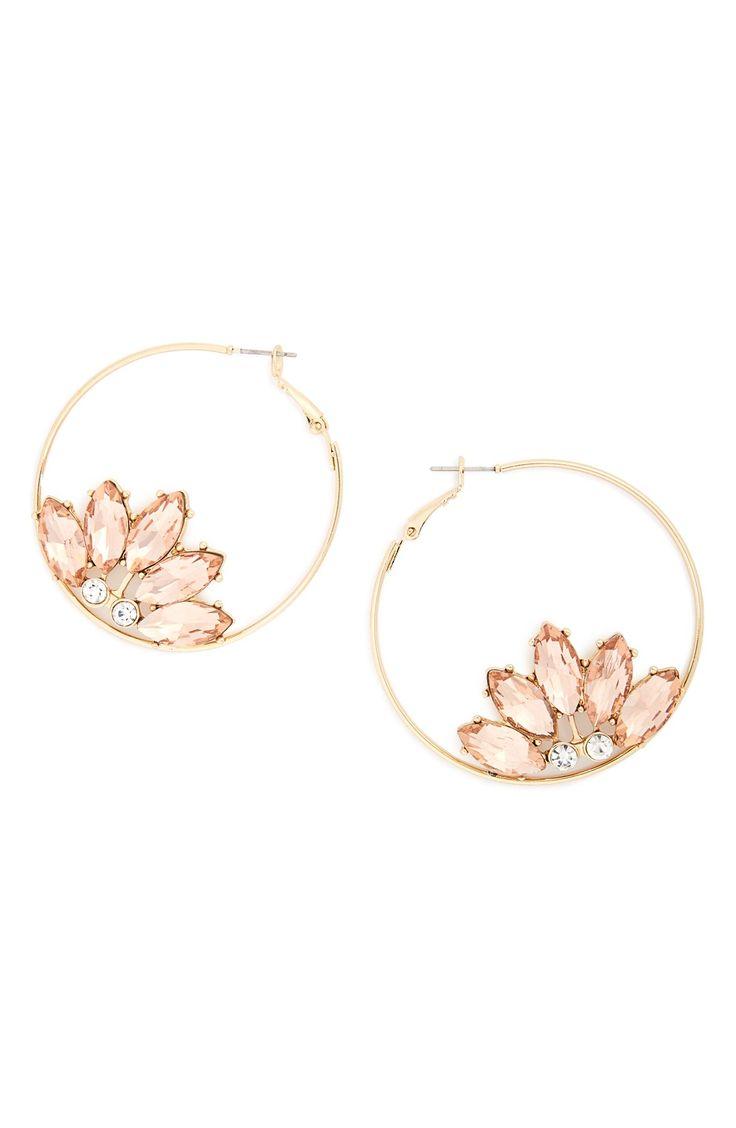 Crystal Flower Hoop Earrings