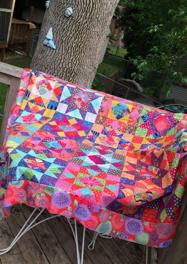 """Mardi Gras Star"" quilt top, designed by Liza Prior Lucy; fabrics by Kaffe Fassett."