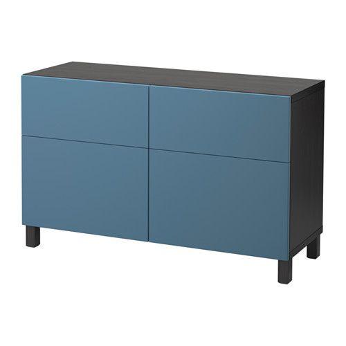 BESTÅ Aufbewkomb.+Türen/Schubladen, schwarzbraun, Valviken dunkelblau schwarzbraun/Valviken dunkelblau 120x40x74 cm Schubladenschiene, sanft schließend