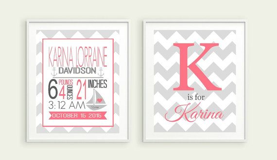 Nautical Birth Stats Print Nautical Nursery Decor by LilPeasPrints