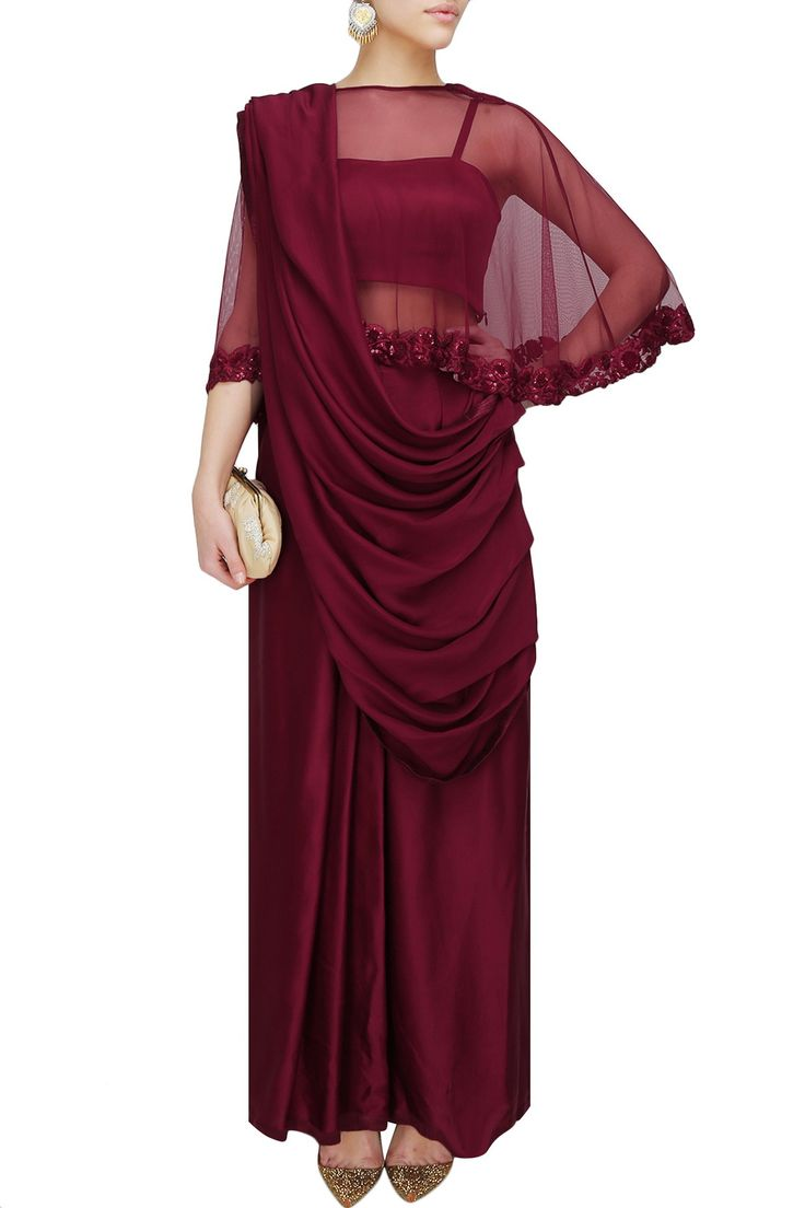 CHHAVVI AGGARWAL Oxblood satin sari with floral embroidered cape available only at Pernia's Pop Up Shop.