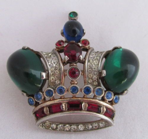 VTG-Trifari-Alfred-Philippe-Sterling-Crown-Red-Blue-Green-Cabochons-Pin-Brooch