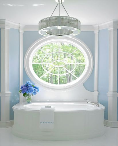 Lovely blue and white in this unique bathroom. Find more feng shui decor tips: http://FengShui.About.com
