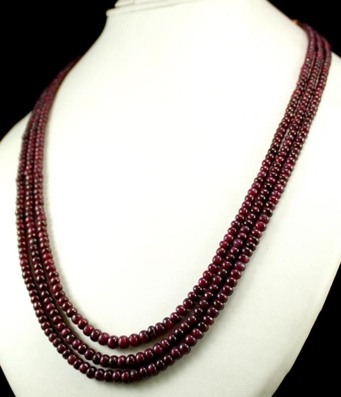3 Strand Natural Red Ruby 357ct Rondelle Cabochon Beads Gemstone String Necklace(kgr357ct),for further details,visit us at www.krishnagemsnj...