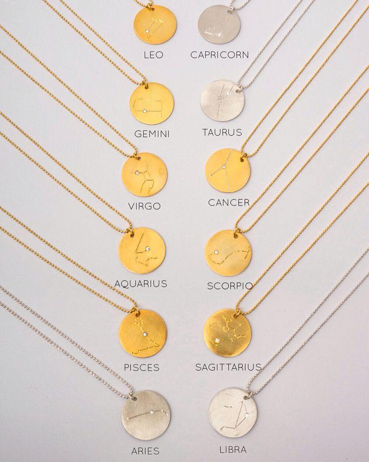 Zodiac constellation pendants available at herminawristwear.com