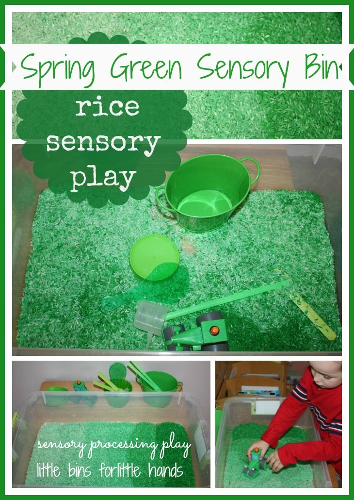 Spring Green Colored Rice Sensory Bin - could also just use dry green spit peas if you don't want to dye rice!