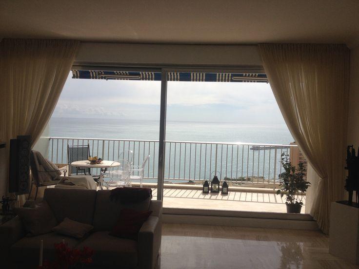 Schne Aussichten In Monaco Lange Fensterfront Ausgestattet Mit Leinen Vorhnge Von Jab Gardinen