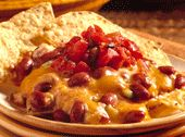 """Vegetarian Chili Cheese Dip - with cream cheese, kidney beans, chilli, tomato, onion, cheddar"""