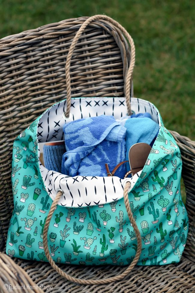 Learn how to make a beach bag that is as simple as it is trendy with this free bag pattern. Using about 2 yards of canvas fabric, 4 grommets, and 2 yards of rope for the adorable handles, this Canvas Beach DIY Tote Pattern is the perfect bag to bring to the beach. Extra roomy and made out of sturdy and washable fabric, this bag would make a great gift for a friend about to go on vacation and is the perfect sewing project for beginners to start your summer off right!