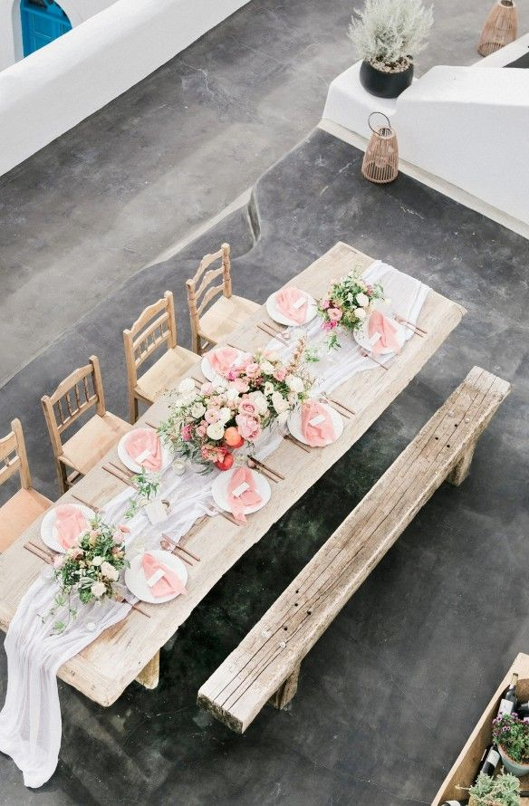 Romantic pink wedding table. Pastels and gauzy table runner (maybe tulle or organza).