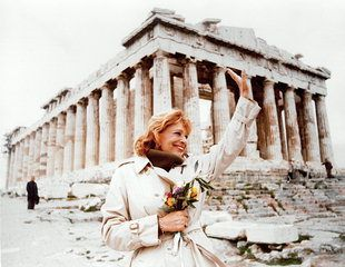 Melina Mercouri at the Acropolis. World-famous actress, fighter of the resistance movement against the military regime (1967-1974), politician (Minister of Culture) of an enormous radiance in Greece