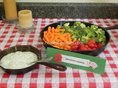 farm birthday party: Farms Birthday, Cast Irons Pan, 2Nd Birthday Parties, Vegetables Trays, 1St Birthday, Birthday Parties Ideas, Veggies Trays, Barnyard Birthday Parties, Irons Grill
