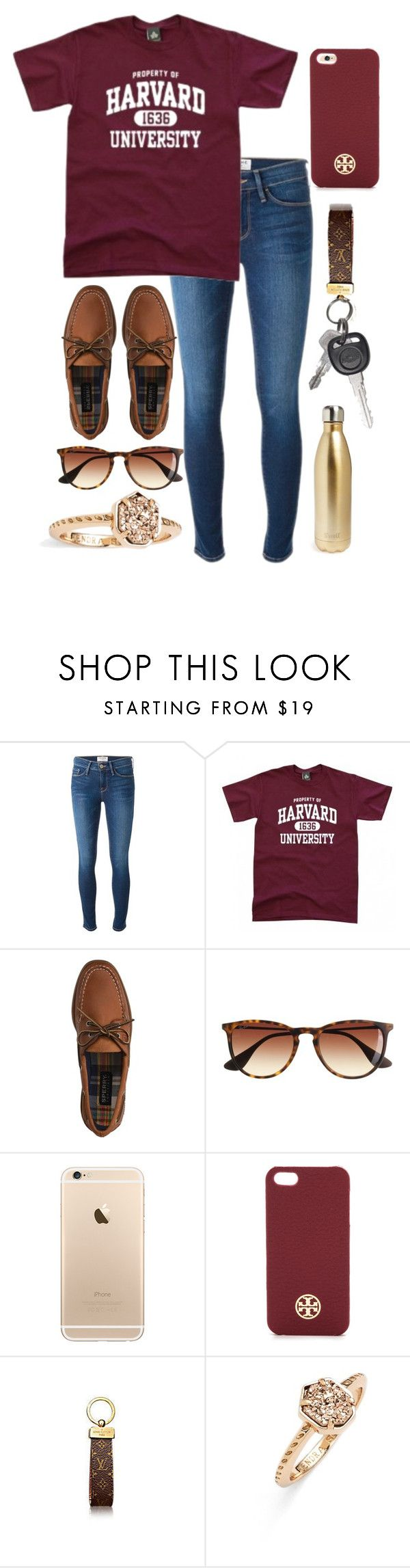 """property of harvard university"" by ansleighrose023 ❤ liked on Polyvore featuring Frame Denim, Sperry Top-Sider, J.Crew, Tory Burch, Kendra Scott, S'well, women's clothing, women's fashion, women and female"