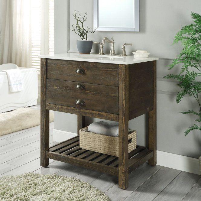 Parker Slat Shelf 30 Single Vanity Single Bathroom Vanity