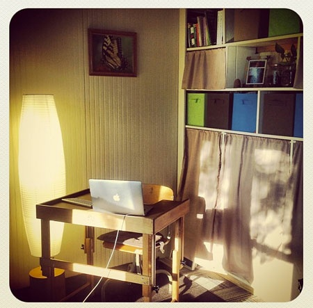 Tiny home office from Unclutterer: Daily tips on how to organize your home and office.
