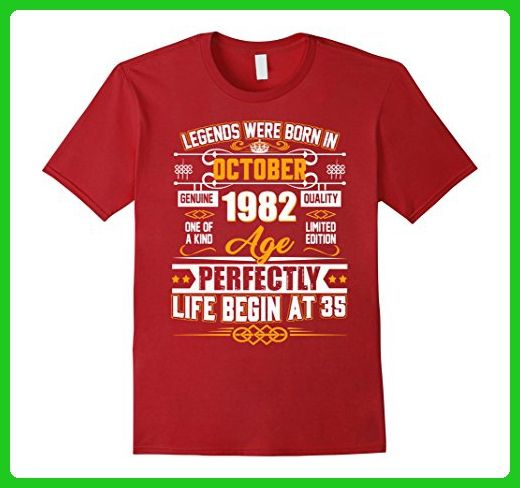 Mens Legends Were Born In October 1982 Shirt 35th Birthday Gift Large  Cranberry - Birthday shirts