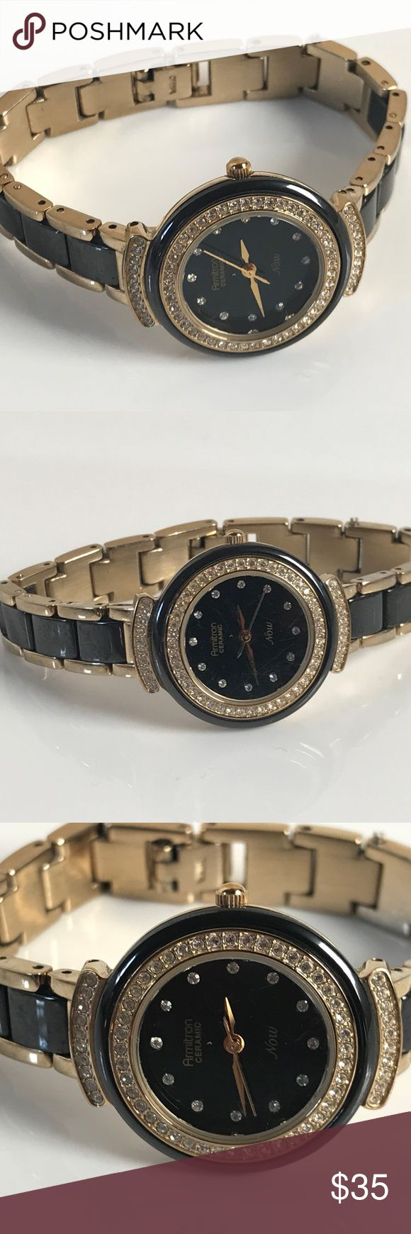 ARMITRON Now Ladies Watch Gold Tone Crystal Accent ARMITRON Now Ladies Watch Gold Tone Crystal Accent 75/5038 Analog Women Watch  Brand: ARMITRON  Color: Gold + Black  Size: 6  Japan Movement  Stainless Steel Back  100 Feet, 30 Meters Water Resistant ( 3 ATM )  Pre-owned: used and in good condition, have scratches, fully functional. no box. Armitron Accessories Watches