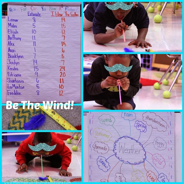 Weather activity for kindergarten!  Students blow a feather to see how strong they are as the wind!  Great for estimation and measurement!