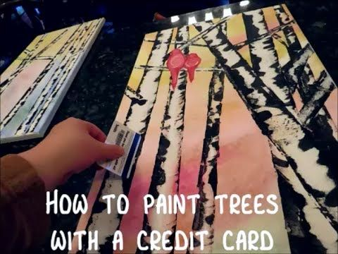 Learn how to paint the textures of aspen or birch trees with a simple credit card with Amy Pearce of Her Art from the Attic.