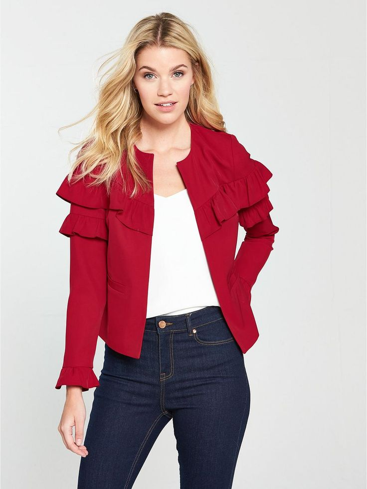 V by Very Frill Jacket - Red, https://www.littlewoodsireland.ie/v-by-very-frill-jacket-red/1600210831.prd