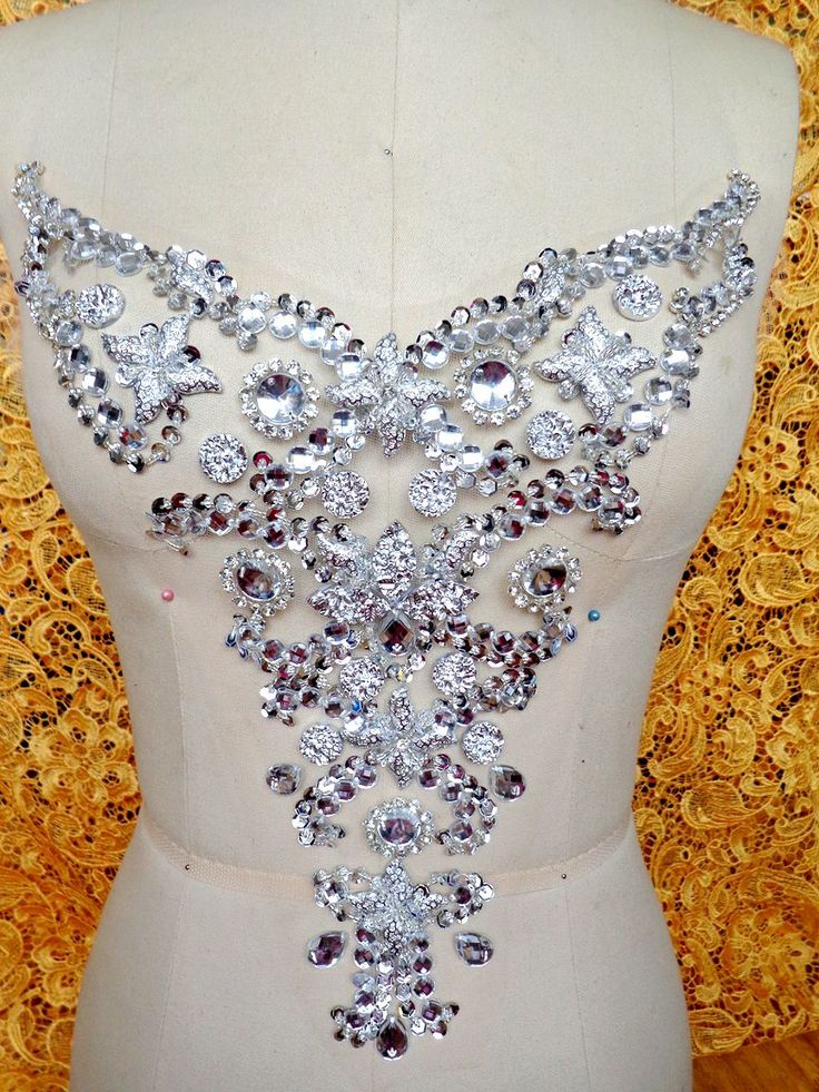 Handmade silversew on  Rhinestones applique crystal patches with stones sequins beads 30*28cm Diy dress accessory-in Patches from Home & Garden on Aliexpress.com | Alibaba Group