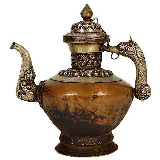 vintage teapots   Tibetan Antique Carved Copper TeaPot :: Tibetan :: Golden Treasures