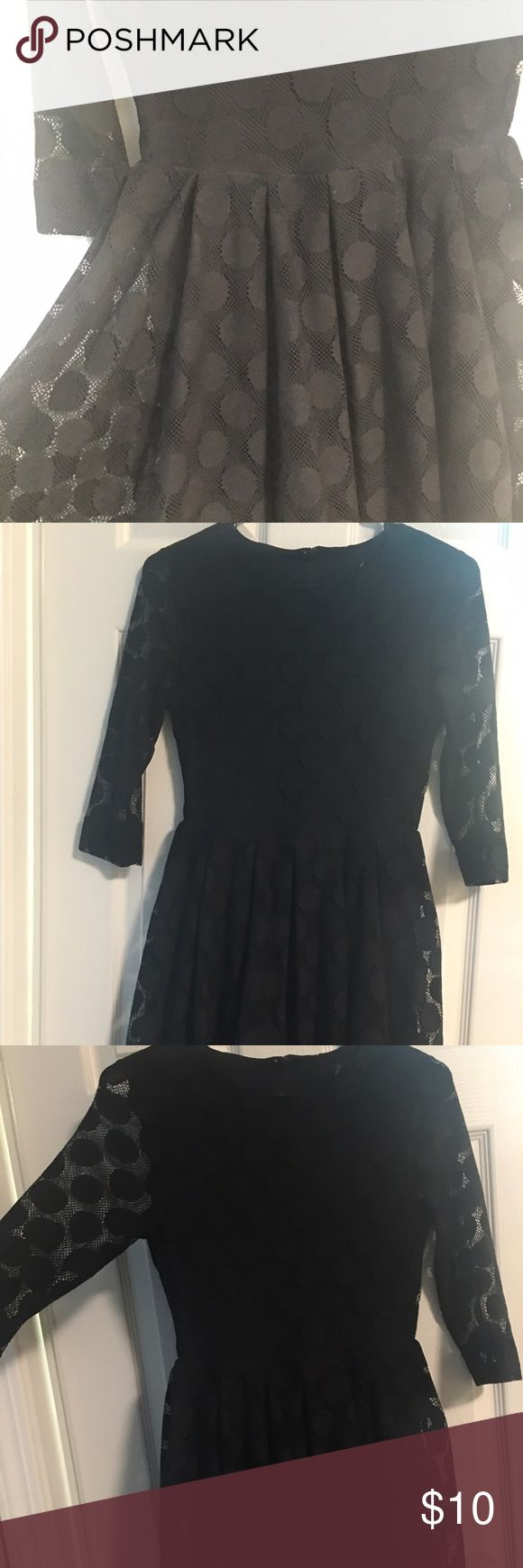 H&M black Polka dots 3/4 sleeves dress In the process of Decluttering.... Feel free to make offer and ask questions. Thank you. H&M Dresses Midi