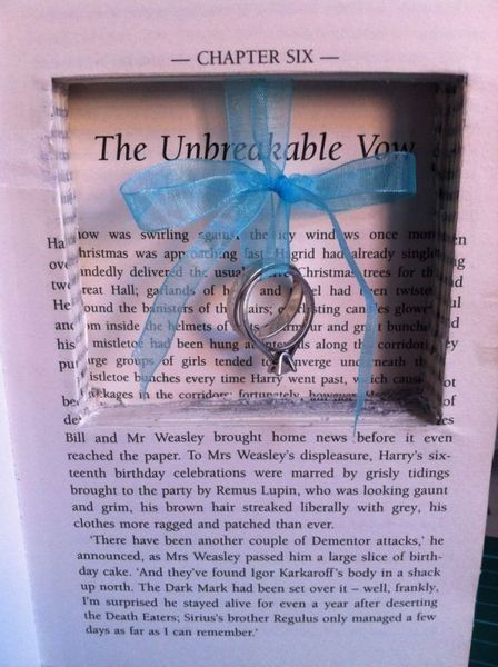Harry Potter ring book, the Unbreakable Vow.Find your perfect wedding venue at www.classicbritishhotels.com