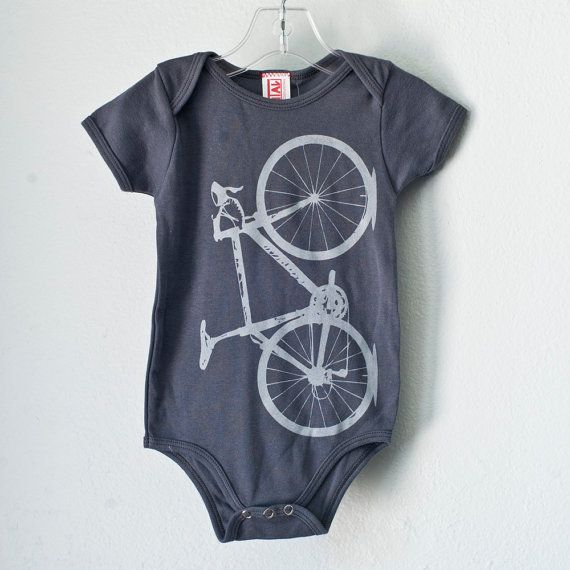 Screen-printed bike onesie, a must-have for future tiny Poe-Crawfords. From vital on Etsy.