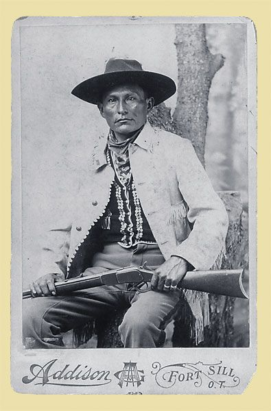 Naiche - Chiricahua Apache: Naiche was the son of the greatest Apache chiefs, Cochise, and the grandson of another, Mangas Coloradas. Naiche enlisted as a scout at Fort Sill, Oklahoma Territory, in 1897, when this photo was likely taken. He worked successfully to move the Apaches at Fort Sill to the Mescalero Apache Reservation in New Mexico, which was much more like their native homeland.