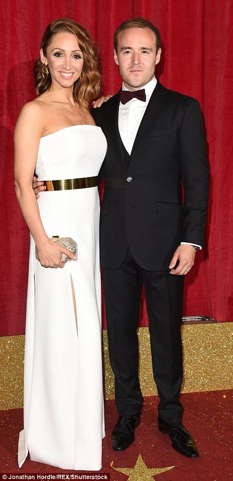 Screen stars: Lucy-Jo Hudson and Alan Halsall put on a loving display as they arrived on t...