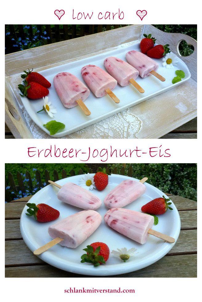 Erdbeer-Joghurt-Eis low carb ganz leicht selber machen. So macht Sommer auch…