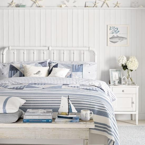 Coastal blue and white bedroom | Traditional bedroom design ideas | Bedroom | PHOTO GALLERY | Ideal Home | Housetohome.co.uk
