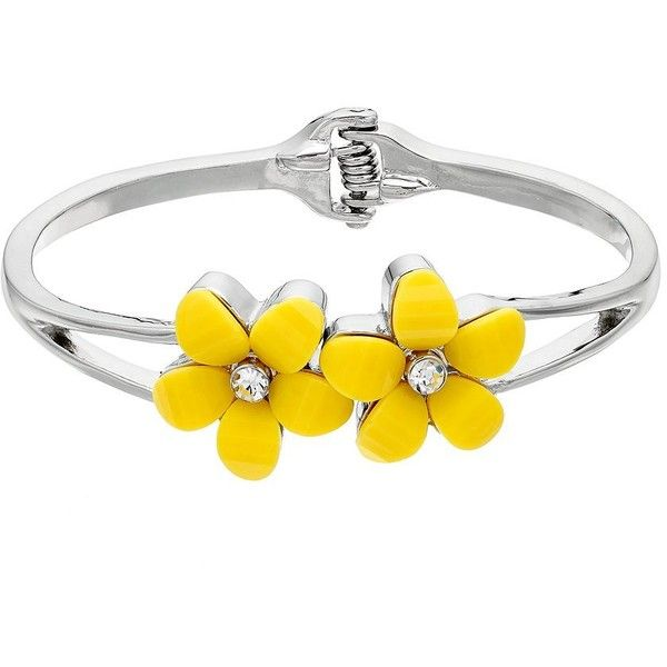 Yellow Flower Hinged Cuff Bracelet ($18) ❤ liked on Polyvore featuring jewelry, bracelets, med yellow, cuff bangle bracelet, cuff bangle, blossom jewelry, flower jewelry and nickel free jewelry
