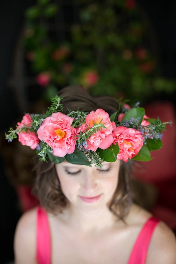 Camellia and rosemary flower crown