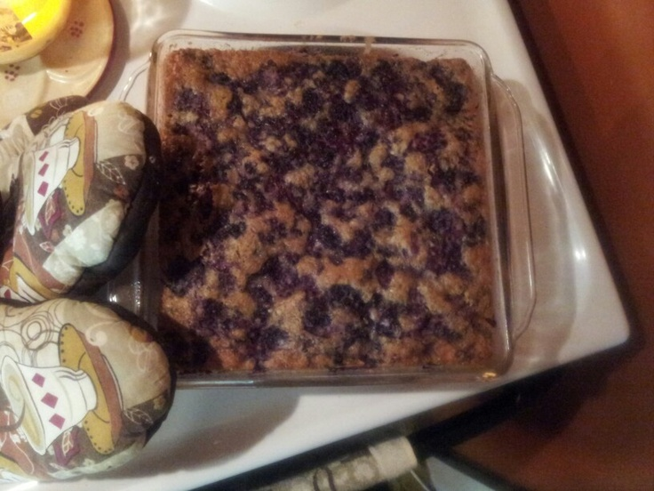 Blackberry Cobbler  2 cups self-rising flour 2 cups sugar 2 cups milk  2 cups fresh blackberries  Pre-heat oven to 325, bake for 25-30 minutes or until golden brown on top and center is solid. You can put a toothpick in and if it comes out clean it's ready to go. Enjoy :)
