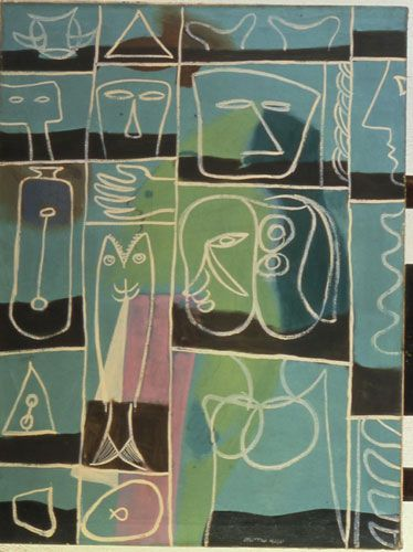 Adolph Gottlieb, Mariner's Incantation 1945 oil, gouache, tempera, casein on canvas, 39 13/16 x 29 7/8 inches