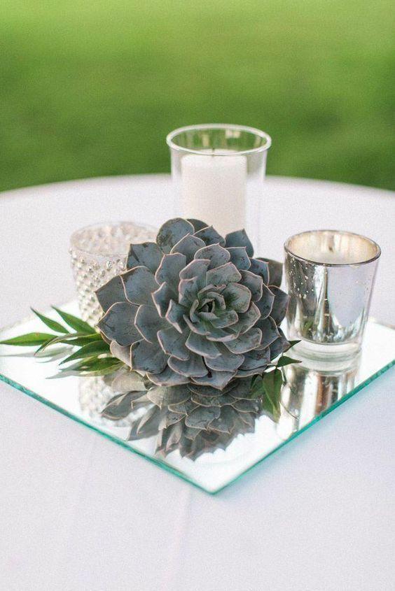 vintage mirror wedding centerpiece idea