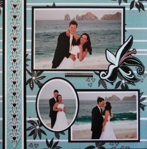Wedding Scrapbook Page - Bride & Groom layout with a lily from Disney Tinkerbell & Friends cartridge in Wedding Album 2