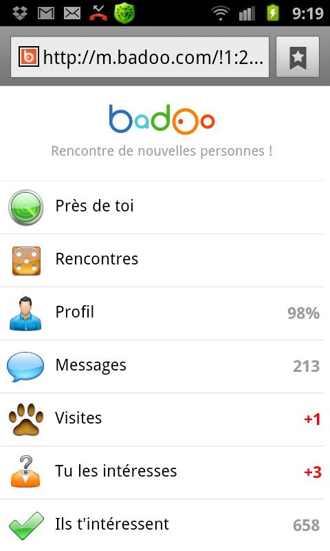 Badoo version mobile.Découvrez l'application rencontre badoo et rejoignez gratuitement les centaines de milliers de célibataires dans le monde...
