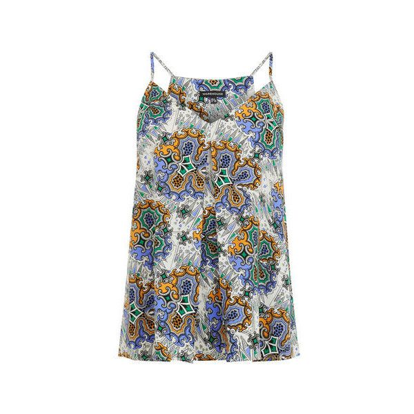Warehouse Warehouse Tile Print Cami Top Size 10 (£5) ❤ liked on Polyvore featuring tops, neutral print, v neck cami top, v neck tops, camisole tops, v neck tank top and pattern tank top
