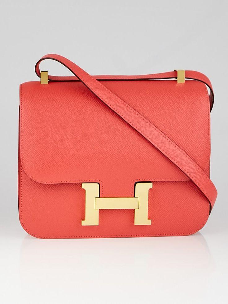 Hermes 24cm Rose Jaipur Epsom Leather Gold Plated Constance Bag