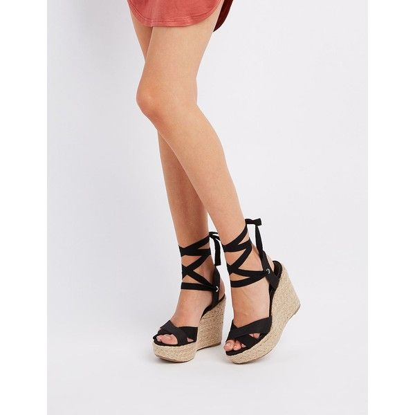 Wild Diva Lounge Ankle-Tie Espadrille Wedge Sandals ($36) ❤ liked on Polyvore featuring shoes, sandals, black, black platform sandals, ankle tie espadrilles, black wedge sandals, lace up wedge sandals and lace up platform sandals