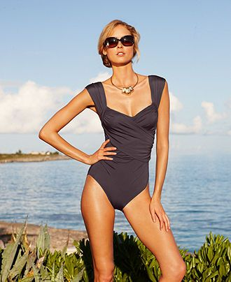 Badgley Mischka Swimsuit, Surplice Over The Shoulder Draped Front One Piece - Swimwear - Women - Macy's