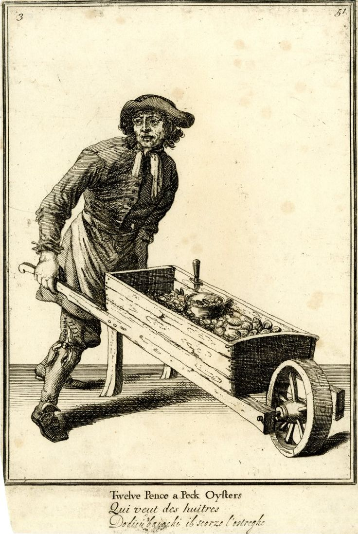 An oyster seller pushing a barrow 1688, reworked and published after c.1750  Etching