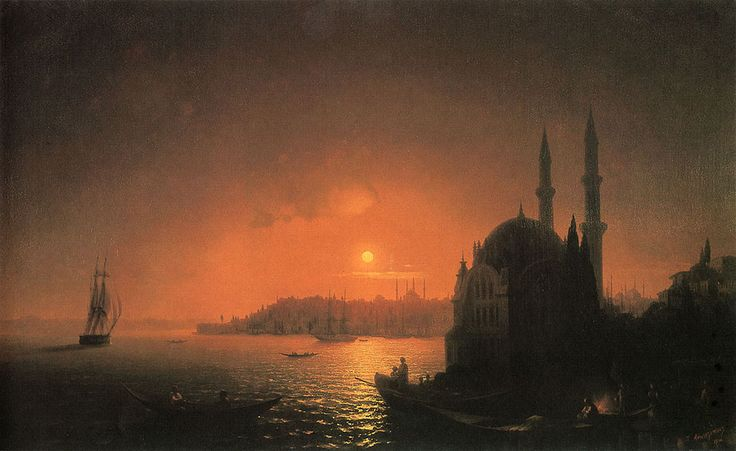 Ivan Konstantinovich Aivazovsky. View of Constantinople by Moonlight, Original Size: 124 x 192,5 cm, Date: 1846, Location: St. Petersburg, Russian Museum. Buy this painting as premium quality canvas art print from Modarty Art Gallery. #art, #canvas, #design, #painting, #print, #poster, #decoration