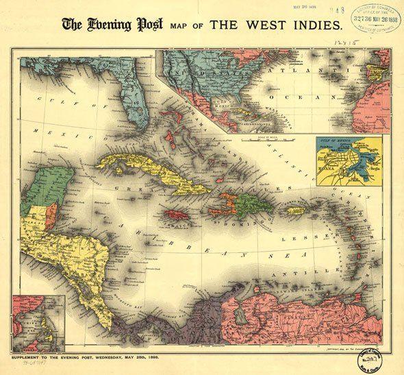 Вест-Индия, Карибское море, старая карта 1898 г, изображение высокого разрешения