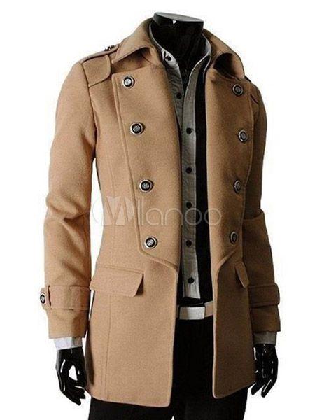 [39,02€] Bolsillos Color sólido uniforme tela moda abrigo para los hombres